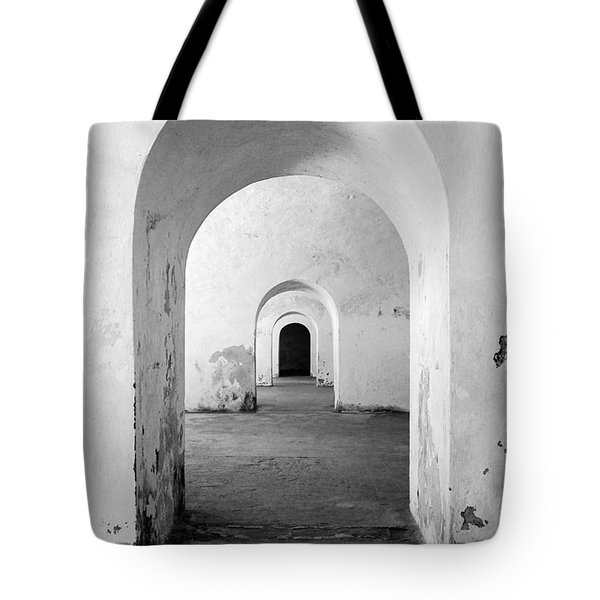 El Morro Fort Barracks Arched Doorways Vertical San Juan Puerto Rico Prints Black And White Tote Bag by Shawn O'Brien