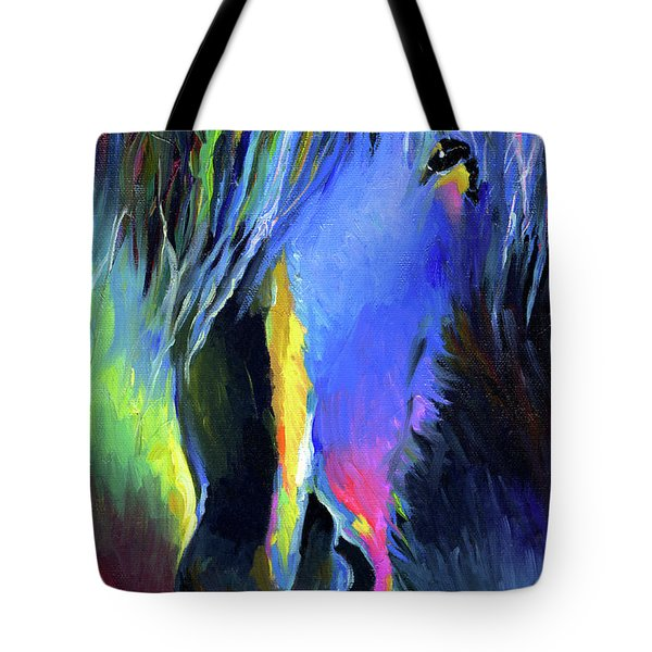 electric Stallion horse painting Tote Bag by Svetlana Novikova