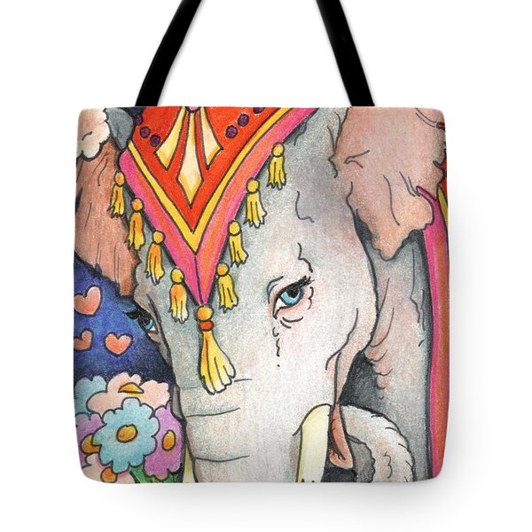Elephant Flowers Tote Bag by Amy S Turner