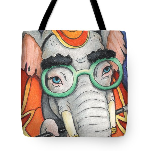 Elephant In Glasses Tote Bag by Amy S Turner