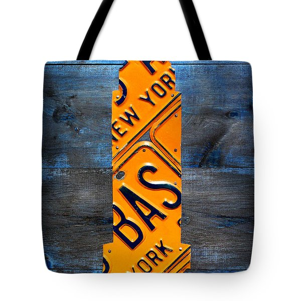 Empire State Building Nyc License Plate Art Tote Bag by Design Turnpike