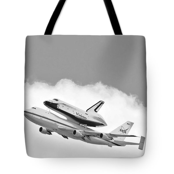Enterprise Shuttle Over NY Tote Bag by Regina Geoghan