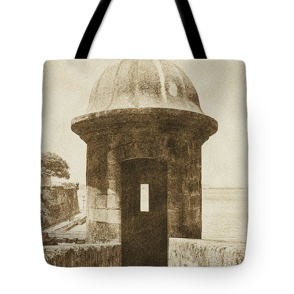 Entrance to Sentry Tower Castillo San Felipe Del Morro Fortress San Juan Puerto Rico Vintage Tote Bag by Shawn O'Brien