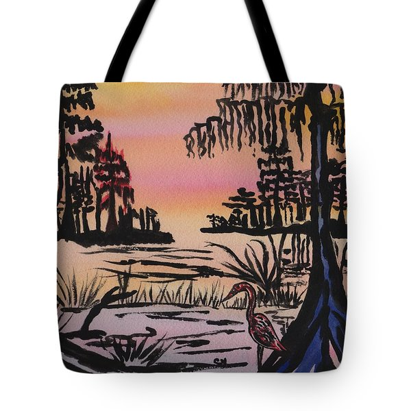 Evening In The Cyprus Trees Tote Bag by Connie Valasco