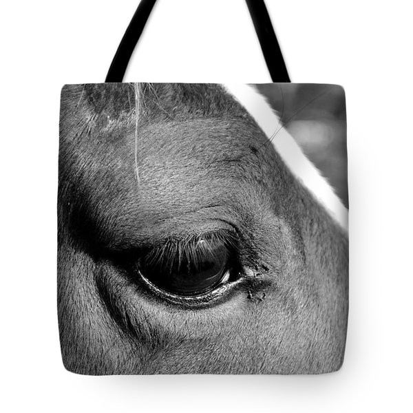 Eye Of The Horse Black And White Tote Bag by Sandi OReilly
