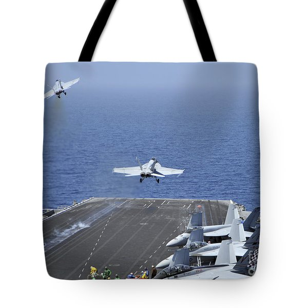Fa-18f Super Hornets Launch Tote Bag by Stocktrek Images