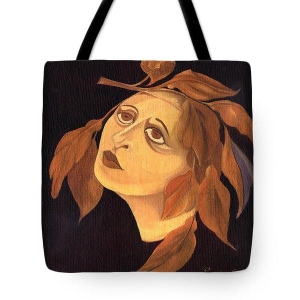 Face In Autumn Leaves Tote Bag by Rachel Hershkovitz