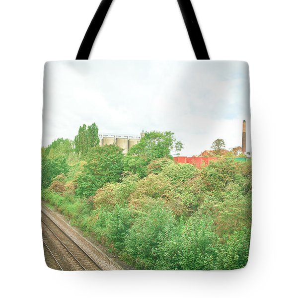 Factory and trainlines Tote Bag by Tom Gowanlock