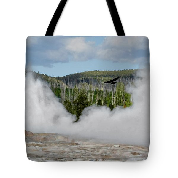 Falcon over Old Faithful - Geyser Yellowstone National Park WY USA Tote Bag by Christine Till