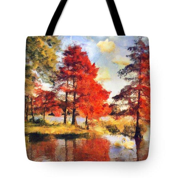 Fall At Swan Lake Tote Bag by Jai Johnson