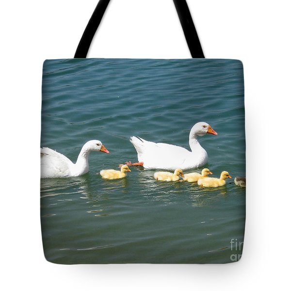 Family outing on the Lake Tote Bag by Ed Churchill