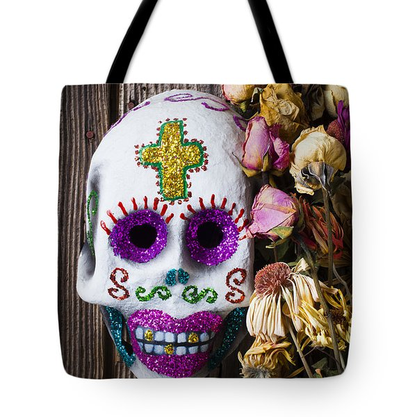 Fancy Skull And Dead Flowers Tote Bag by Garry Gay