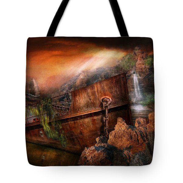 Fantasy - Ship Wrecked Tote Bag by Mike Savad