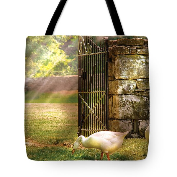Farm - Geese -  Birds Of A Feather Tote Bag by Mike Savad