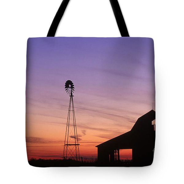 Farm at Sunset Tote Bag by David Davis and Photo Researchers