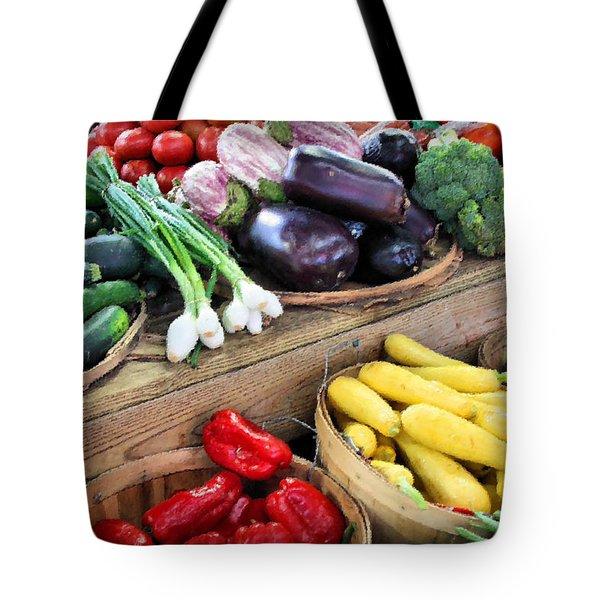 Farmers Market Summer Bounty Tote Bag by Kristin Elmquist