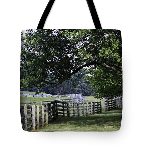 Farmland Shade Appomattox Virginia Tote Bag by Teresa Mucha