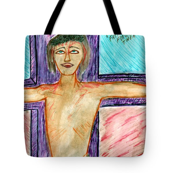 Father Forgive Them - Aug 1999 Tote Bag by Carl Deaville