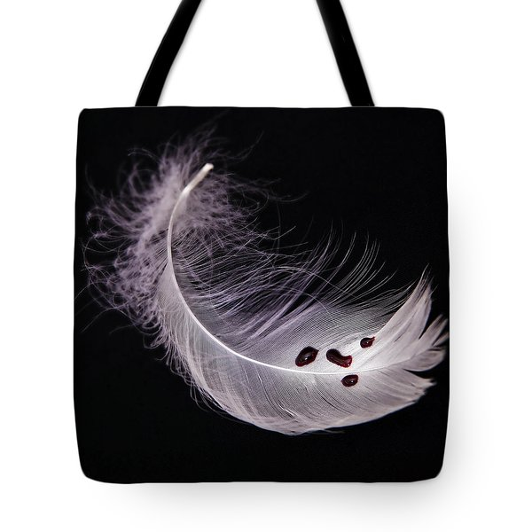 Feather With Blood Tote Bag by Joana Kruse