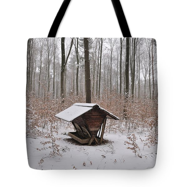 Feed Box In Winterly Forest Tote Bag by Matthias Hauser