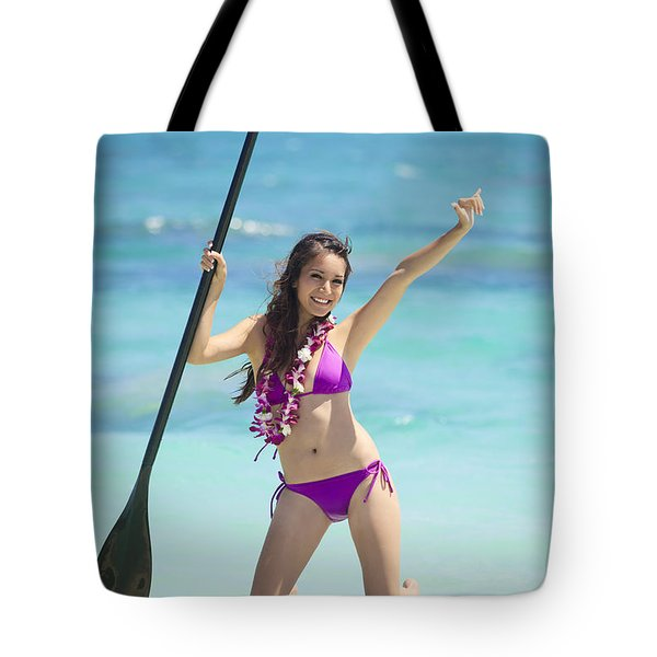 Female Stand Up Paddler Tote Bag by Tomas del Amo
