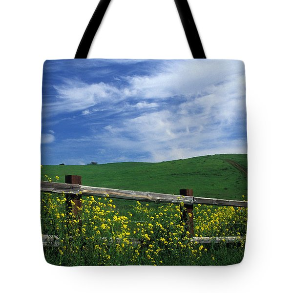 Fence and Flowers Tote Bag by Kathy Yates