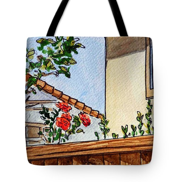 Fence And Roses Sketchbook Project Down My Street Tote Bag by Irina Sztukowski