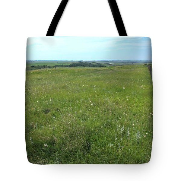 Fence On The Alberta Prairie Tote Bag by Jim Sauchyn
