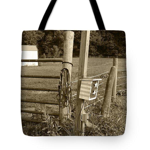 Fence Post Tote Bag by Jennifer Lyon