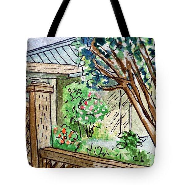 Fence Sketchbook Project Down My Street Tote Bag by Irina Sztukowski