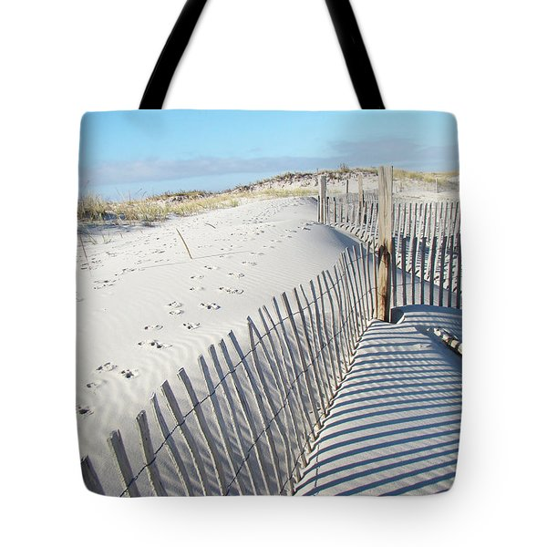 Fences Shadows And Sand Dunes Tote Bag by Mother Nature