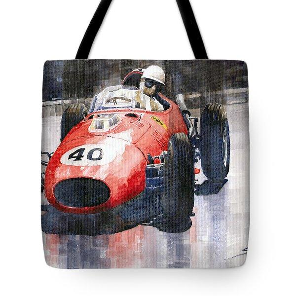 Ferrari Dino 246 F1 Monaco Gp 1958 Wolfgang Von Trips Tote Bag by Yuriy  Shevchuk