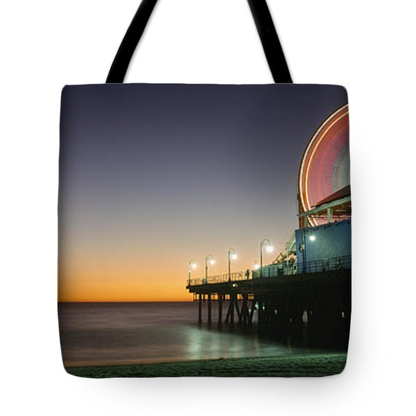 Ferris Wheel And Rollercoaster At Dusk Tote Bag by Axiom Photographic