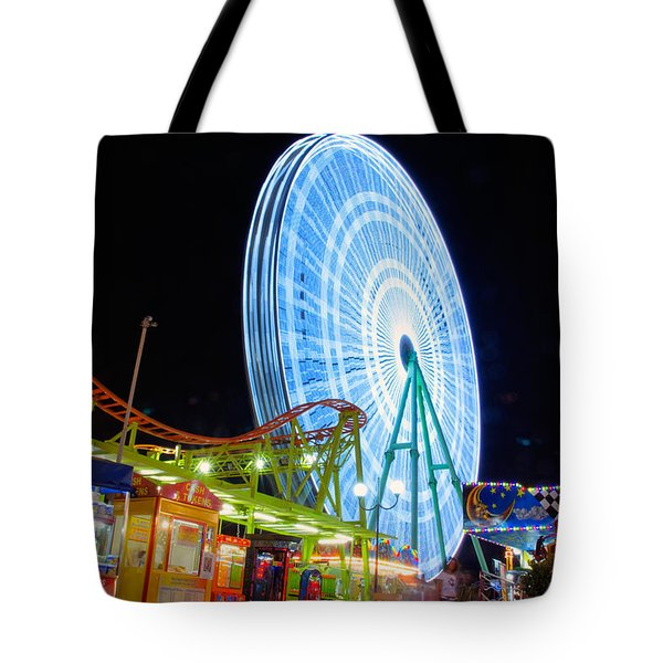 Ferris Wheel At Night Tote Bag by Stelios Kleanthous