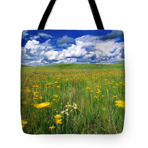 Field Of Flowers, Grasslands National Tote Bag by Robert Postma