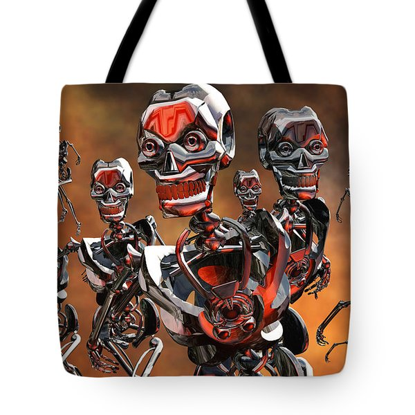 Fierce Androids Riot The City Of Tokyo Tote Bag by Mark Stevenson