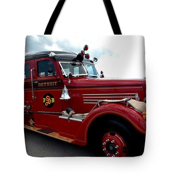 Fire Truck Selfridge Michigan Tote Bag by LeeAnn McLaneGoetz McLaneGoetzStudioLLCcom