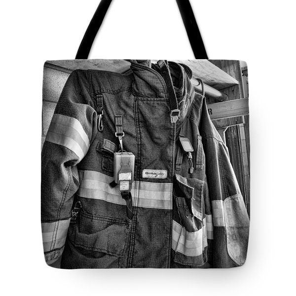 Fireman - Saftey Jacket Black And White Tote Bag by Paul Ward
