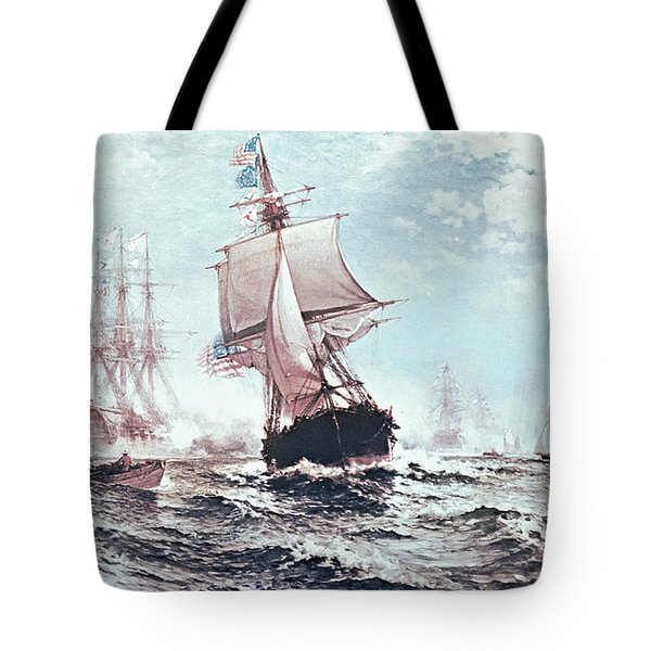 First Recognition Of The Stars And Stripes Tote Bag by Edward Moran