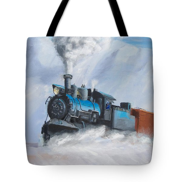 First Train Through Tote Bag by Christopher Jenkins