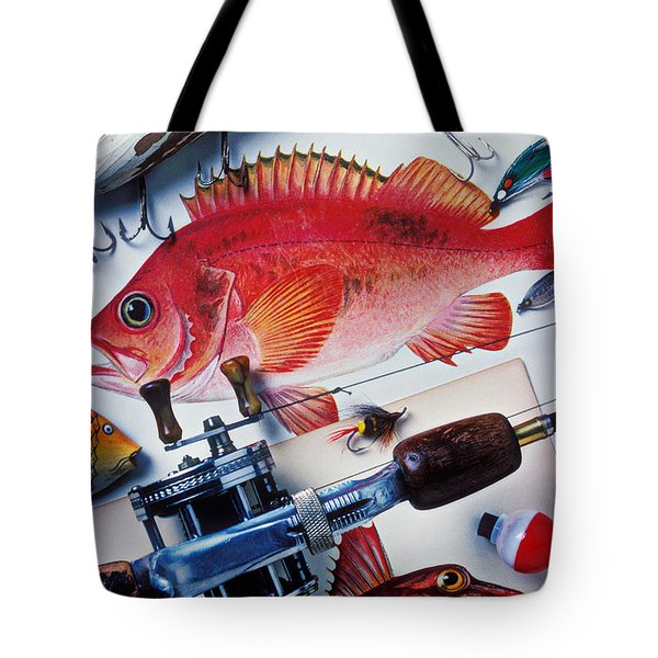Fish Bookplates And Tackle Tote Bag by Garry Gay