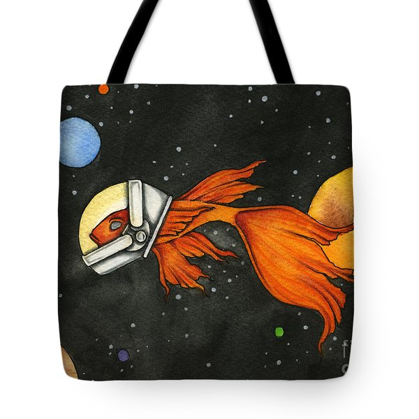 Fish In Space Tote Bag by Nora Blansett