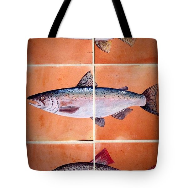 Fish Mural On Terracotta Tiles Tote Bag by Andrew Drozdowicz