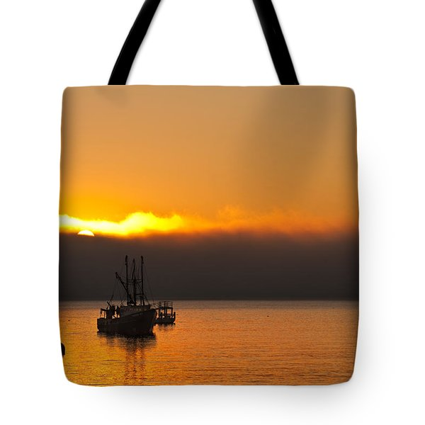 Fishing Boat At Sunrise Tote Bag by Steve Gadomski
