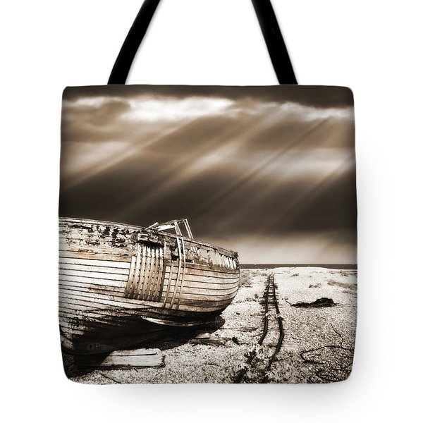 fishing boat graveyard 9 Tote Bag by Meirion Matthias
