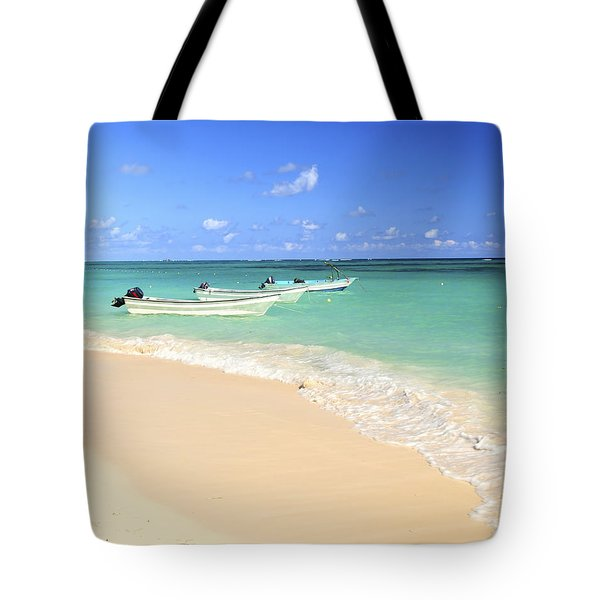Fishing Boats In Caribbean Sea Tote Bag by Elena Elisseeva