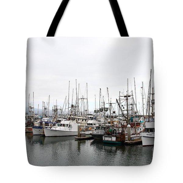 Fishing Boats In Pillar Point Harbor At Half Moon Bay California . 7d8196 Tote Bag by Wingsdomain Art and Photography