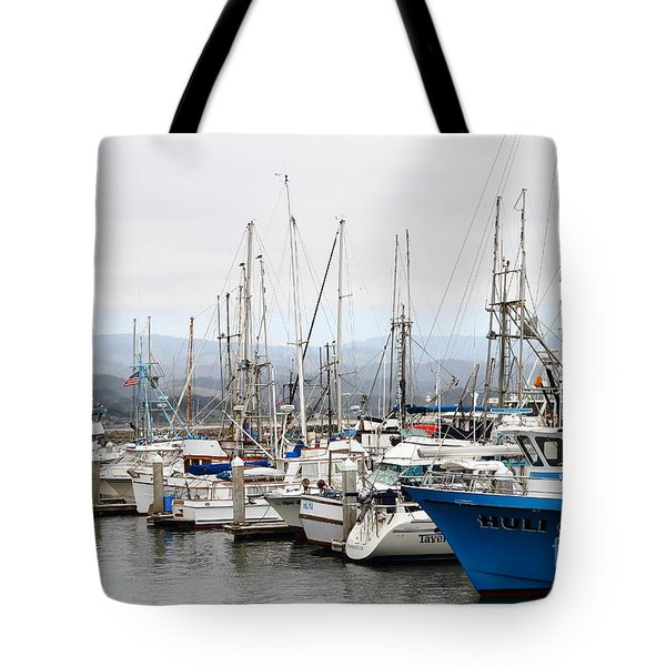 Fishing Boats In Pillar Point Harbor At Half Moon Bay California . 7d8208 Tote Bag by Wingsdomain Art and Photography