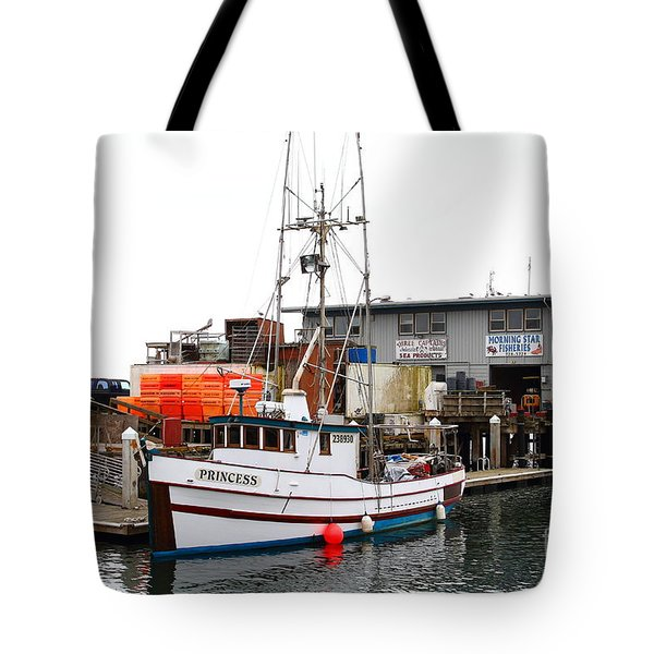 Fishing Boats In Pillar Point Harbor At Half Moon Bay California . 7d8210 Tote Bag by Wingsdomain Art and Photography