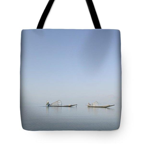 Fishing Boats, Inle Lake, Myanmar Burma Tote Bag by Huy Lam